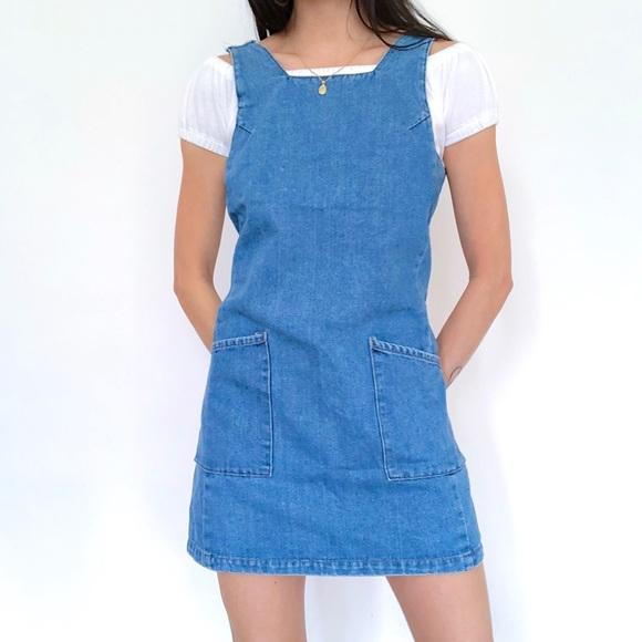 Vintage Dresses & Skirts - Super Cute 90s Vintage Denim Dress